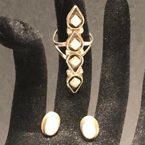 Jewelry - SS & moonstone ring. Earrings included.